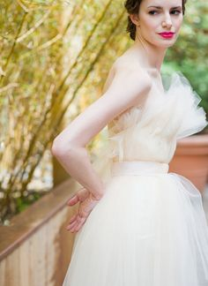 Tulle... suits a small bust  ... For a Wedding Dress Guide & wedding ideas for brides, grooms, parents & planners ... https://itunes.apple.com/us/app/the-gold-wedding-planner/id498112599?ls=1=8 ♥  http://pinterest.com/groomsandbrides/boards/ ♥