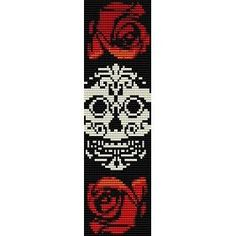 Instant Download Beading Pattern Peyote Stitch Bracelet Sugar Skull in Roses Seed Bead Cuff