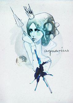 Aquarius horoscope illustration by Ekaterina Koroleva Aquarius Constellation Tattoo, Aquarius Art, Aquarius Horoscope, Age Of Aquarius, Aquarius Woman, Horoscopes, Sagittarius Art, Aquarius Traits, Taurus