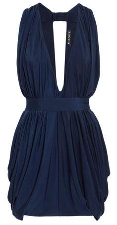 Mini-robe en jersey plissé bleu marine à décolleté plongeant, Haney