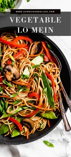 Vegetable Lo Mein is an easy healthy meal that can be on your table in just 15 minutes! This Asian noodle dish is loaded with fresh vegetables and cooked in a minimal amount of oil. It's the perfect recipe for using up leftover veggies from the fridge and Vegetarian Recipes Dinner, Dinner Recipes, Dinner Healthy, Healthy Vegetarian Recipes, Vegetarian Lo Mein, Breakfast Healthy, Healthy Dishes, Vegan Food, Asian Noodle Recipes