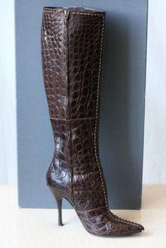 WOW - $7500.00 ALEXANDER MCQUEEN Brown Tall CROC CROCODILE Boots