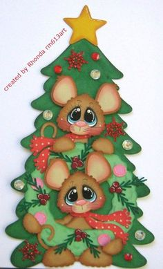 Christmas Mice Tree paper piecing premade scrapbook pages album Rhonda rm613art