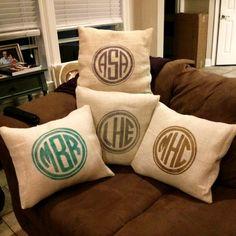 Monogrammed Burlap Pillow by MyGirlJosephine on Etsy, $28.00
