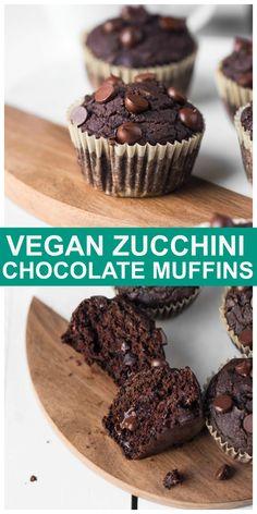 Vegan Gluten-Free Chocolate Zucchini Muffins are fluffy, oil-free, 1 bowl and ready in 30 minutes! #vegan #glutenfree #chocolate #zucchini #muffins #oilfree Gluten Free Chocolate, Vegan Chocolate, Chocolate Recipes, Vegan Treats, Vegan Desserts, Vegan Baking, Vegan Food, Chocolate Zucchini Muffins, Vegan Zucchini