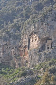 LYCIA: Rock-cut Tombs in Dalyan, Turkey: Six rock tombs on the Dalyan river c.400BC