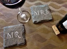 Mr and Mrs Slate Coasters