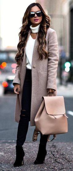 winter trends_nude cashmere coat + white sweater + bag + skinnies + boots