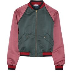 Tomas Maier Two-tone duchesse-satin bomber jacket (160805 RSD) ❤ liked on Polyvore featuring outerwear, jackets, green, bomber jackets, flight jacket, blouson jacket, tomas maier and two tone jacket