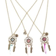 Best Friends 3 Pack Dreamcatcher Necklaces ($5.42) ❤ liked on Polyvore featuring jewelry and necklaces