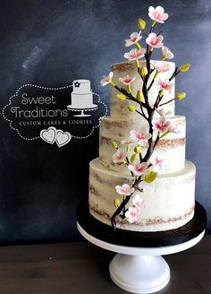 Cherry blossom semi naked wedding cake Japanese Theme Parties, Japanese Party, Cherry Blossom Cake, Cherry Blossom Wedding, Custom Cakes, Cake Cookies, Wedding Cakes, Sweet Treats, Birthday Cake