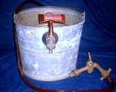 Vintage Jockey Box/ Tub made out of Galvanized White's Brand Tub with old Budweiser Tap --- lamp base?