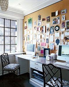Cork board wall in office...so practical.