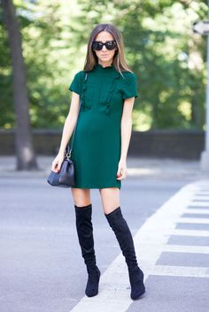 Dress: Zara (similar, similar) / Boots: Joie / Sunglasses: Stella McCartney / Bag: Fendi