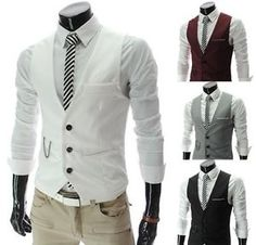 Mens Slim Fashion Casual Business Dress Suit Vest Waistcoat Wedding Party. Add teal tie, splash of color on the flowers, bam! I LOVE this look fo rhim. In the grey though.