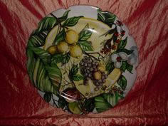 Piatto murale con decori di frutta – decorato e dipinto a mano-