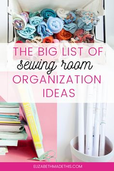Welcome to a big list of sewing room organization ideas that'll help you transform your sewing room into a place that helps ignite your creativity. Find everything here from ideas for organizing your fabric stash, decluttering your pattern stash, how to organize your sewing tools, thread storage solutions, ideas for storing sewing notions, and keeping your machines clean and running well   some bonus ideas for when your sewing space is in good order! #sewingorganization #sewingroom