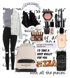 """""""OOTD #54"""" by amyjayneholls ❤ liked on Polyvore featuring Love Quotes Scarves, Topshop, Moschino, Balenciaga, NYX, MAKE UP FOR EVER, H&M, Smashbox, Marc Jacobs and Giorgio Armani"""