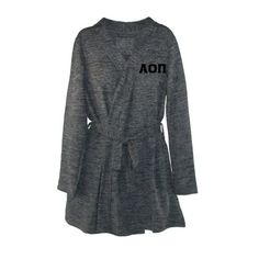 Alpha Omicron Pi Bath Robe: Greek Letters + Pockets + Short Style --Wrap yourself in #aopi style with this ultra soft sorority robe in fashionable heather grey with black stitched Greek Letters. Locker loop for easy hanging. Matching belt tie. Convenient side seam pockets. Short styling. Above the knee for most.