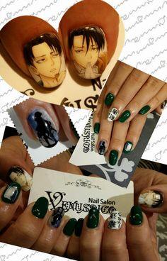 進撃の巨人(Attack on Titan)・リヴァイ兵長 : Character nail art Crazy Nail Art, Crazy Nails, Cute Nail Art, Cute Nails, Nail Polish Designs, Cute Nail Designs, Halloween Nail Designs, Halloween Nails, Maquillage Cosplay Anime