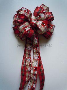 CIJ Plaid Burlap Christmas Bow Burlap Winter by SimplyAdornmentsss