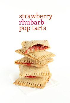 Strawberry Rhubarb Pop Tarts! 7 ingredients, fresh, flaky, #vegan and SO delicious!