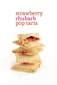 Strawberry Rhubarb Pop Tarts! 7 ingredients, fresh, flaky, #vegan and SO delicious!