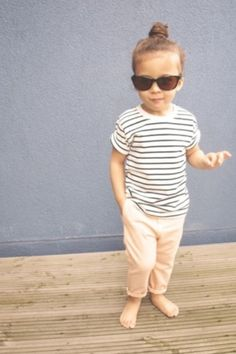 top knot. striped tee and khakis. Cute. OH MAN I CANT WAIT I LOVE DRESSING HER NOW OH MAN