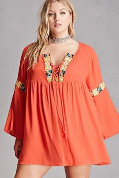 Plus Size Embroidered Sequin Tunic