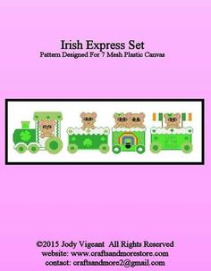 Lucky train1 Plastic Canvas Christmas, Plastic Canvas Crafts, Plastic Canvas Patterns, Holiday Express Train, Holiday Train, St Pattys, St Patricks Day, Saint Patricks, Green Craft