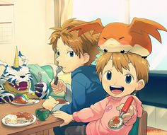 Tags: Anime, Eating, Patamon, Digimon, Takaishi Takeru, Digimon Adventures, Ishida Yamato