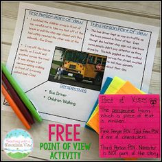 Teaching With a Mountain View: Teaching Point of View 7th Grade Ela, 5th Grade Reading, Grade 3, Second Grade, Reading Workshop, Reading Skills, Reading Activities, Teaching Reading, Reading Projects