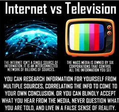 The internet provides many different perspectives other than just one controlled narrative. #Internet VS #MSM