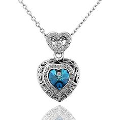 Dilanco Fashion Jewelry Swarovski Elements Crystal Love Heart Sapphire Pendant Necklace for Women,18+2.5 Extender by Dilanco -- Awesome products selected by Anna Churchill