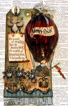 This honeycomb balloon tag was created from a Tim Holtz stamp. I created a faux honeycomb balloon by stamping the balloon several times onto tissue paper that I then inked, folded and glued together in different places.  This tag also features other Tim Holtz stamps and Ideaology pieces.