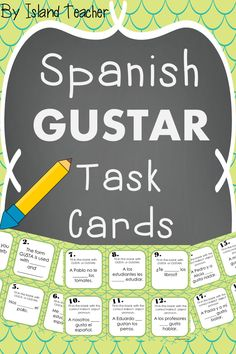 40 task cards and activity suggestions for practicing the verb GUSTAR