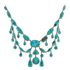 Victorian Natural Turquoise Festoon Necklace