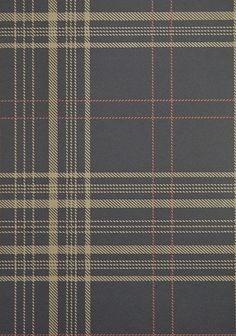 Rakel Plaid Wallpaper Charcoal and Brown plaid wallpaper with red window check. £67