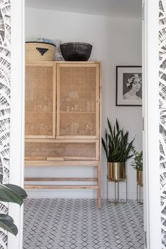 wicker and wood cabinet from urban outfitters. / sfgirlbybay