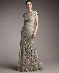 beige antique ivy lace dress