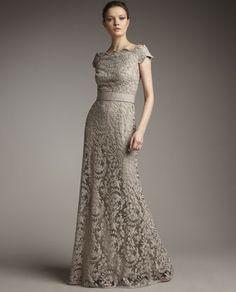 beige antique ivy lace dress