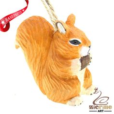 New listing! Hand-carved wooden squirre painted decorative wall carvings ZR10029 #ZL #Ornament