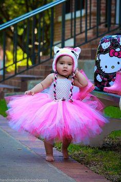 Hello Kitty Baby Girls Tutu Dress Crochet Hat Handmade First Birthday Outfit New #Handmade #DressyEverydayHolidayPageantWedding