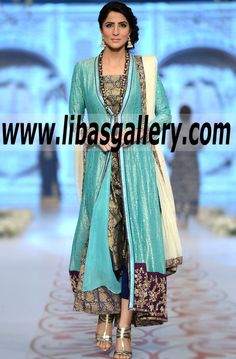 Feel fabulous in Latest Pakistani Fashion Trends long formal dresses By Nida Azwer New York City NY Nida Azwer Bridal Wear Style 360 Evening Party Dresses, Pakistani Designers Fashion Styles 2014 Collection Online