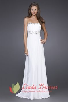 lindadress.com Offers High Quality White Chiffon Prom Dress, Long White Formal Dresses, Dresses For Prom,Priced At Only USD USD $145.00 (Free Shipping)
