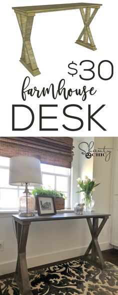 The cutest farmhouse desk you can build with 6 boards that cost around $30... This would make a great console table too! www.shanty-2-chic.com