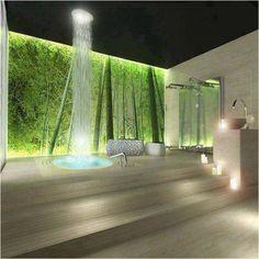 I want a rain shower...that tranquil bathroom is dapper too