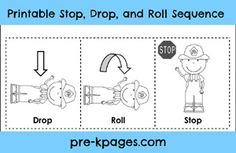 Free printable stop drop and roll sequence via www.pre-kpages.com