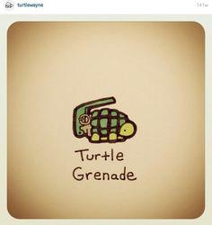 Turtle Grenade by Cute Turtle Drawings, Turtle Sketch, Animal Drawings, Cute Drawings, Sweet Turtles, Cute Turtles, Turtle Time, Tiny Turtle, Sheldon The Tiny Dinosaur