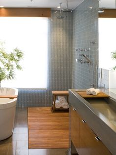Love this Teak floor in the shower and concrete sink! Teak Bathroom Design, Pictures, Remodel, Decor and Ideas - page 2